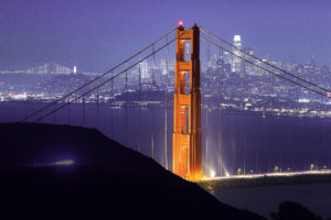 The San Francisco skyline during the holidays from Marin Headlands