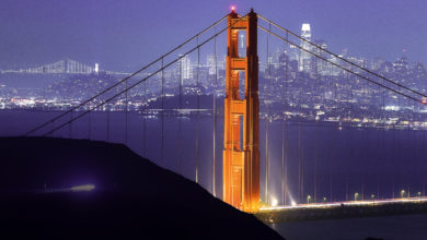The San Francisco skyline during the holidays from Marin Headlands.